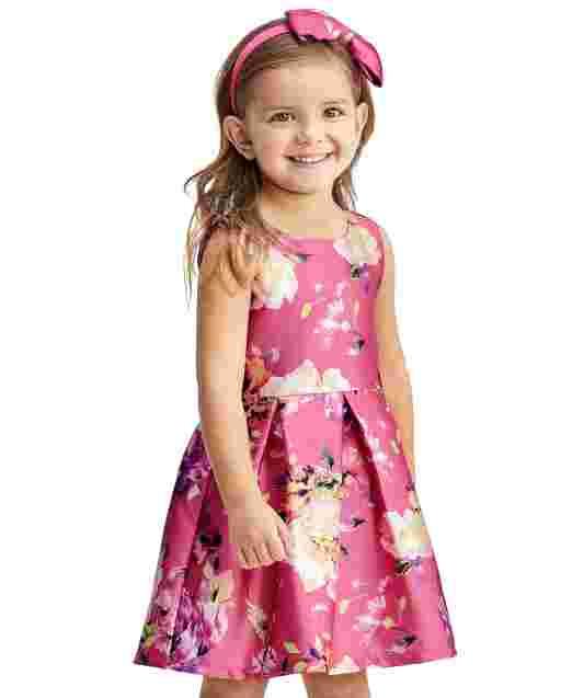 Vestido plisado tejido sin mangas con estampado floral para niñas pequeñas