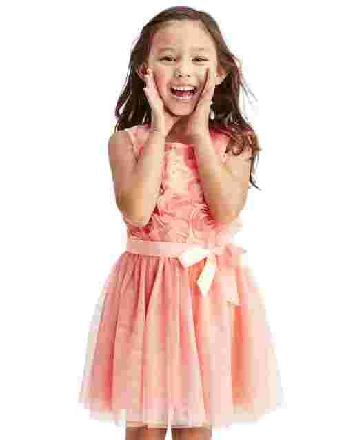 Toddler Girls Easter Sleeveless 3D Flower Knit To Woven Dress