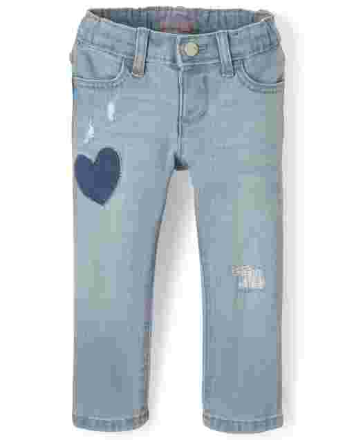 Baby And Toddler Girls Heart Distressed Denim Jeans
