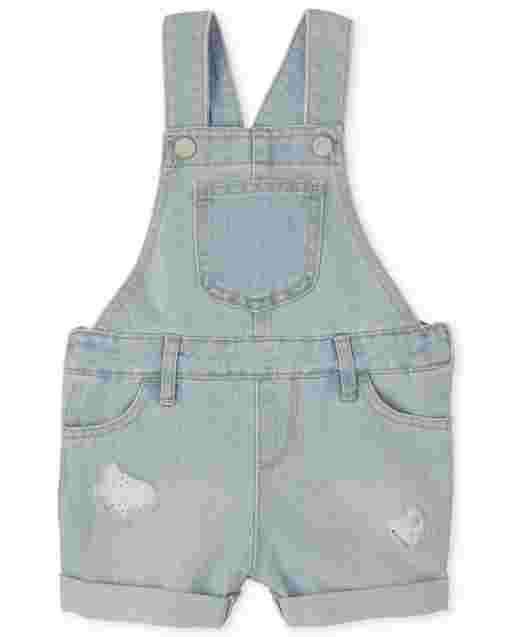 Baby And Toddler Girls Sleeveless Eyelet Distressed Denim Shortalls