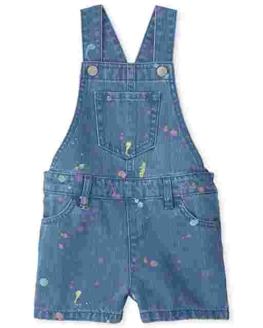 Baby And Toddler Girls Sleeveless Paint Splatter Denim Shortalls