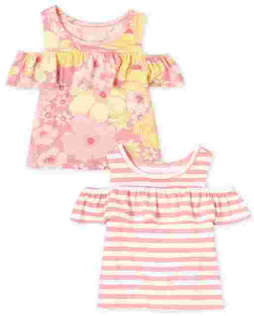 Toddler Girls Mix And Match Short Sleeve Floral And Striped Cold Shoulder Top 2-Pack