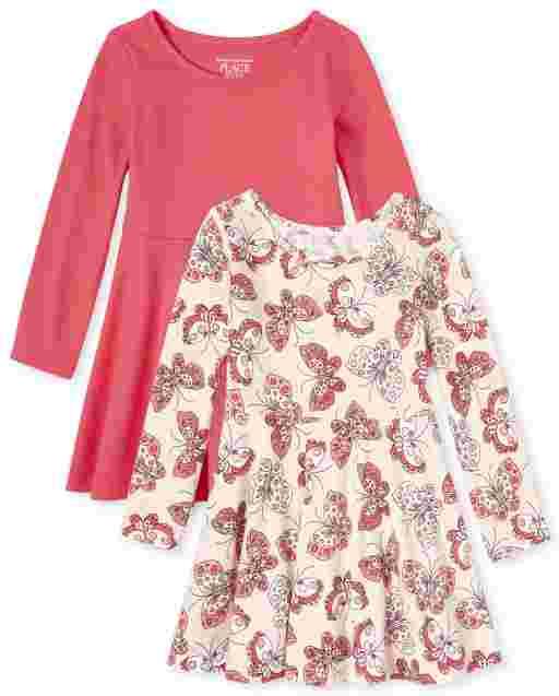 Paquete de 2 vestidos skater de punto de manga larga para bebés y niñas pequeñas