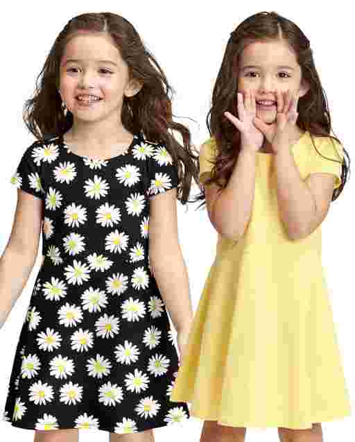 2-Pack Baby And Toddler Girls Short Sleeve Print Knit Skater Dress