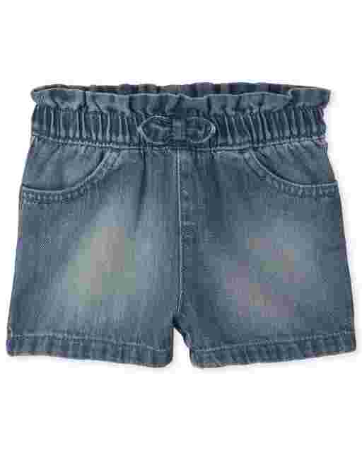 Baby And Toddler Girls Paper Bag Waist Denim Shorts