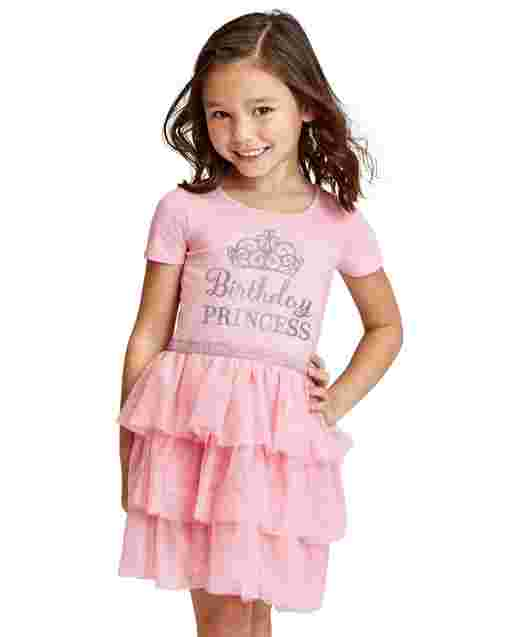 Baby And Toddler Girls Short Sleeve Glitter 'Birthday Princess' Knit To Woven Tiered Tutu Dress