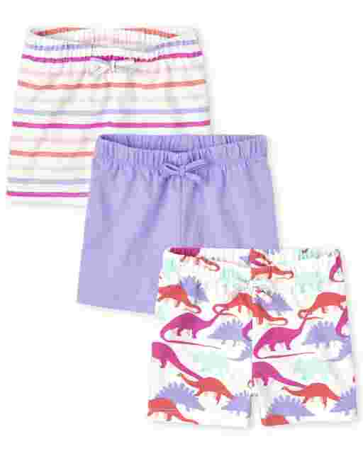 Toddler Girls Print Knit Shorts 3-Pack