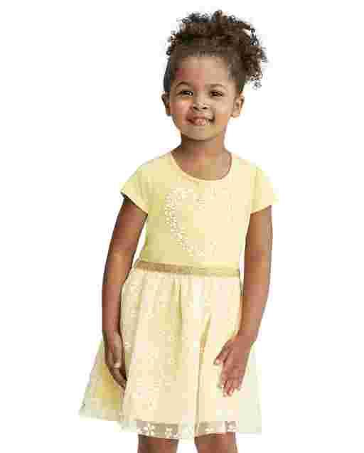 Vestido de tutú tejido a tejido con gráfico de corazón brillante de manga corta para bebés y niñas pequeñas