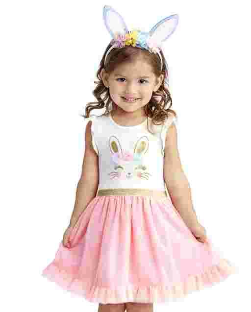 Vestido de tutú tejido a tejido con estampado de conejito de manga corta con volantes para bebés y niñas pequeñas