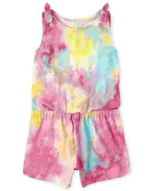 Baby And Toddler Girls Sleeveless Tie Dye Knit Tie Shoulder Romper
