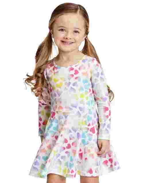 Vestido skater de manga larga con estampado de corazones para bebés y niñas pequeñas