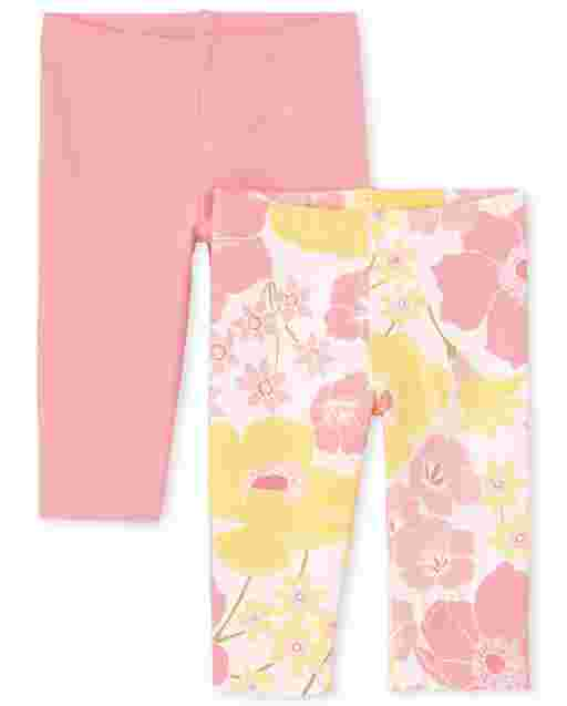 Toddler Girls Floral Print And Solid Knit Capri Leggings 2-Pack