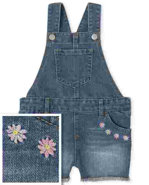 Baby And Toddler Girls Sleeveless Embroidered Denim Shortalls