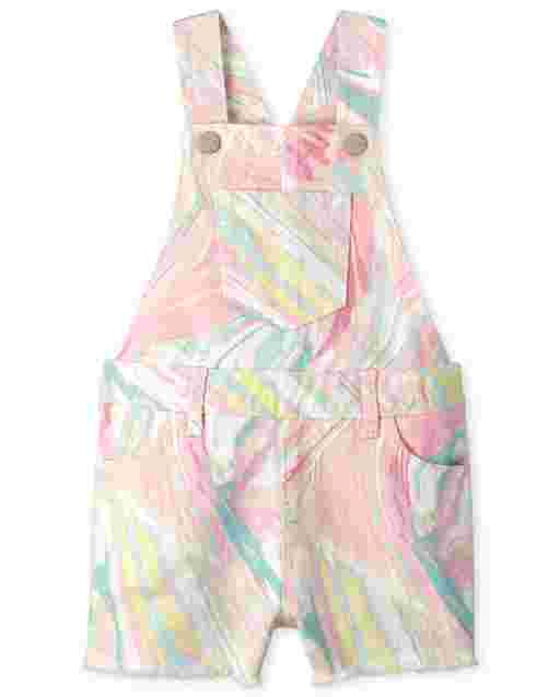 Baby And Toddler Girls Sleeveless Marble Print Twill Shortalls