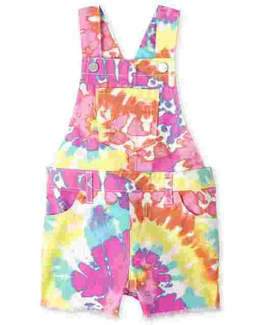 Baby And Toddler Girls Sleeveless Rainbow Tie Dye Print Twill Shortalls