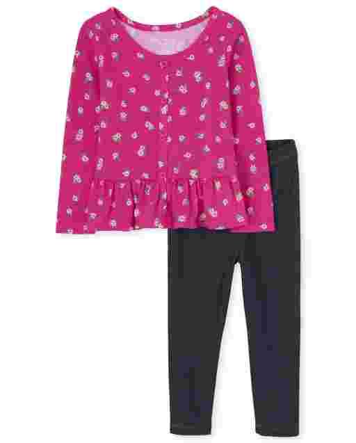 Toddler Girls Long Sleeve Floral Peplum Top And Faux Denim Leggings 2-Piece Set