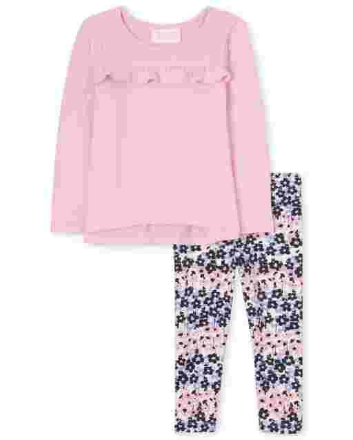 Toddler Girls Long Sleeve Ruffle Lightweight Sweater Top And Floral Knit Leggings 2-Piece Set