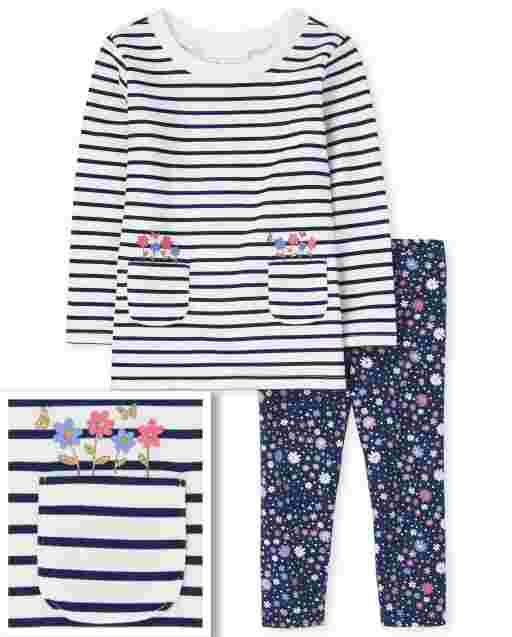 Toddler Girls Long Sleeve Striped French Terry Tunic Top And Floral Print Knit Leggings 2-Piece Set