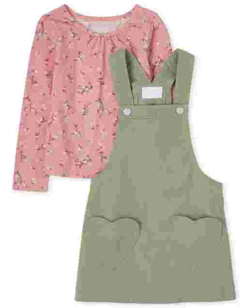 Toddler Girls Sleeveless Heart Twill Skirtall And Long Sleeve Top 2-Piece Set