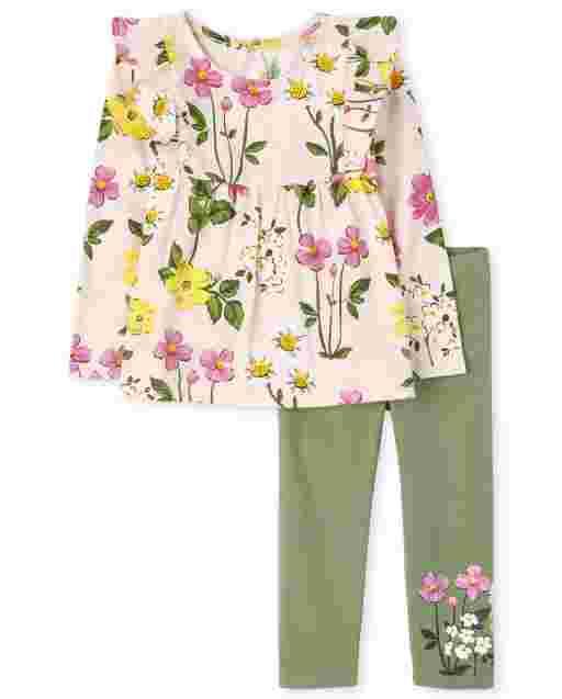 Conjunto de 2 piezas con top con volantes y estampado floral de manga larga para niñas pequeñas y leggings de punto floral