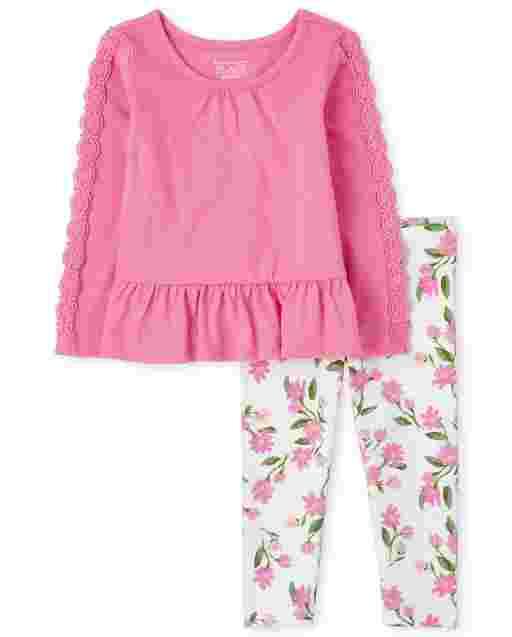 Conjunto de 2 piezas con top peplum de manga larga y leggings de punto con estampado floral para niñas pequeñas
