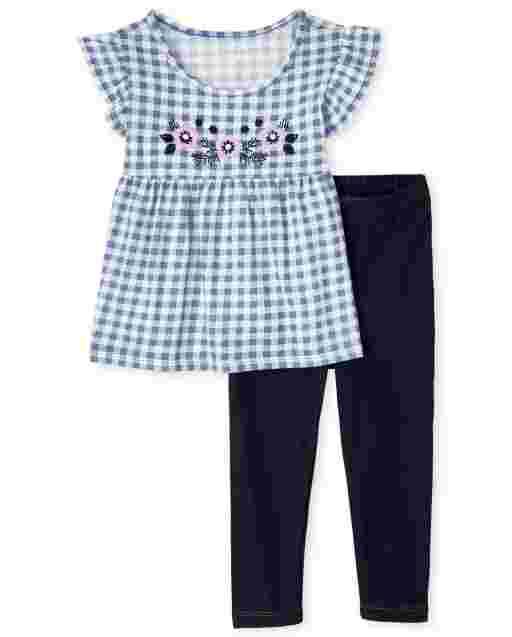Conjunto de 2 piezas de leggings de punto y top con estampado de cuadros vichy con flores bordadas y mangas cortas para niñas pequeñas