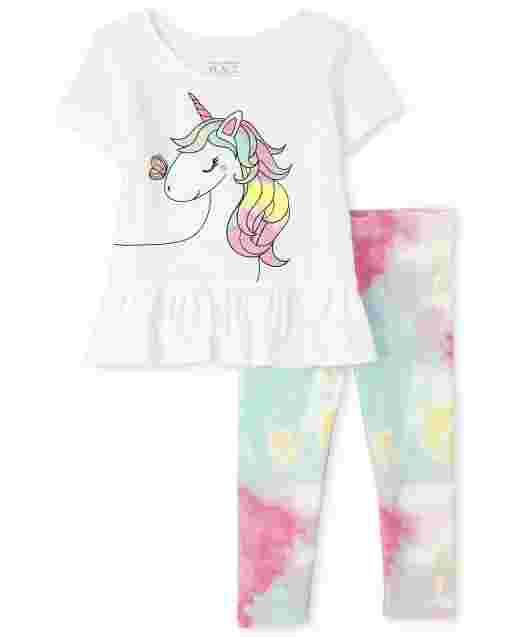 Conjunto de 2 piezas de leggings de punto con estampado de unicornio de manga corta y peplum con estampado de unicornio para niñas pequeñas