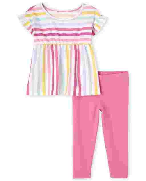 Conjunto de 2 piezas de leggings de punto y top de rayas arcoíris de manga corta con volantes para niñas pequeñas