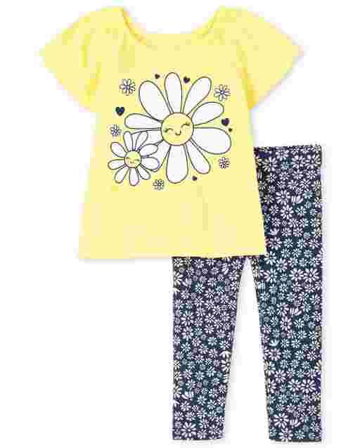Conjunto de 2 piezas de leggings de punto con estampado y top con estampado de margaritas y manga corta con aleteo para niñas pequeñas