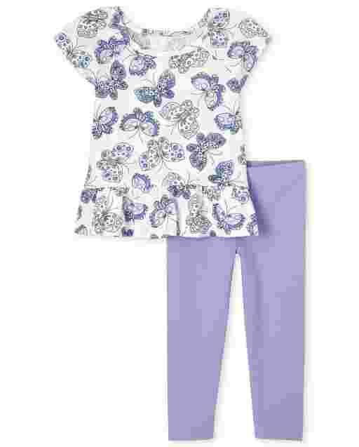Conjunto de 2 piezas de leggings de punto y estampado de mariposas con mangas cortas y aletas para niñas pequeñas