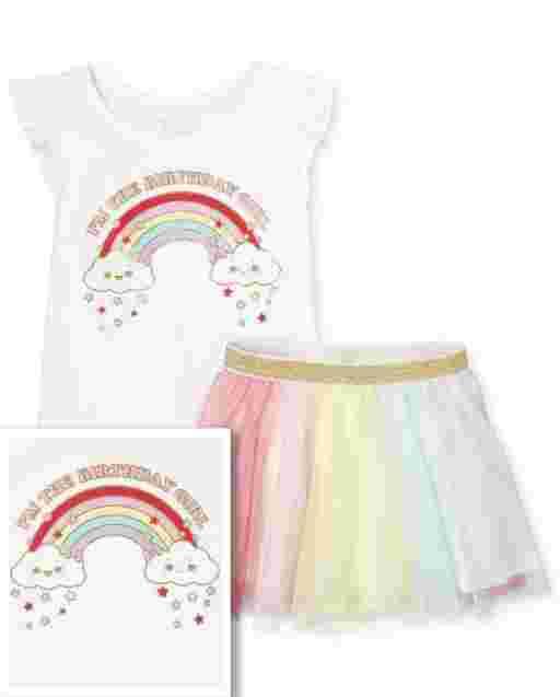 Toddler Girls Birthday Short Flutter Sleeve Rainbow Top And Rainbow Colorblock Glitter Mesh Tutu Skirt 2-Piece Set