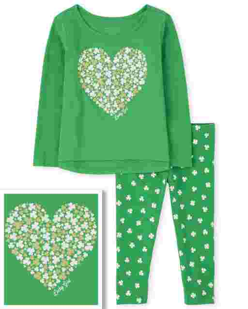 Toddler Girls St. Patrick's Day Long Sleeve Heart Top And Print Knit Leggings 2-Piece Set