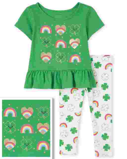 Toddler Girls St. Patrick's Day Short Sleeve Rainbow Heart And Clover Peplum Top And Print Knit Leggings 2-Piece Set