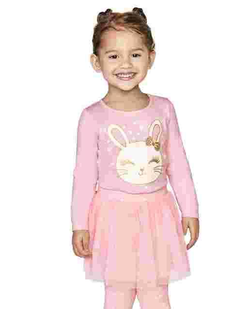 Conjunto de 2 piezas con top de conejito brillante de manga larga y leggings de tutú de punto para niñas pequeñas