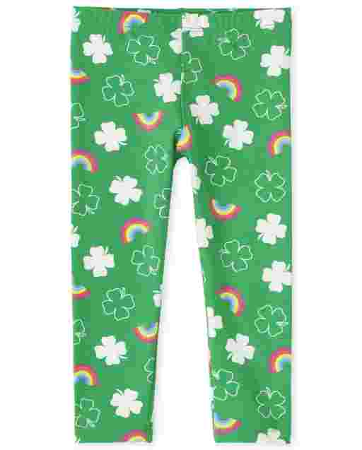 Baby And Toddler Girls St. Patrick's Day Rainbow Print Knit Leggings