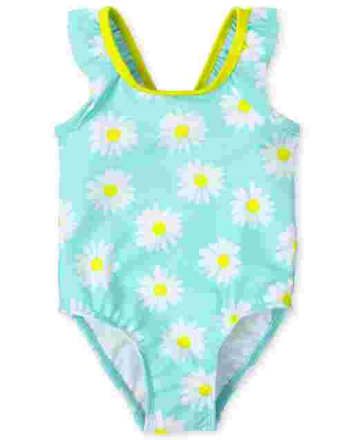 Baby And Toddler Girls Sleeveless Daisy Print One Piece Swimsuit