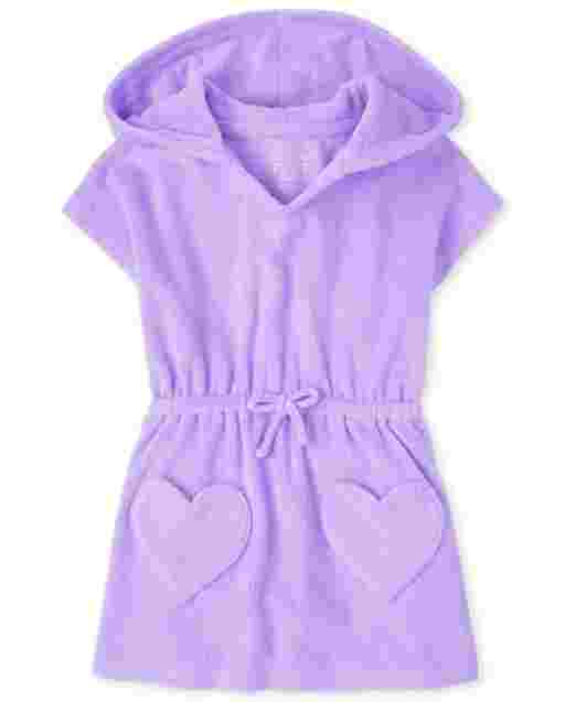 Baby And Toddler Girls Short Sleeve Heart Terry Hooded Cover Up