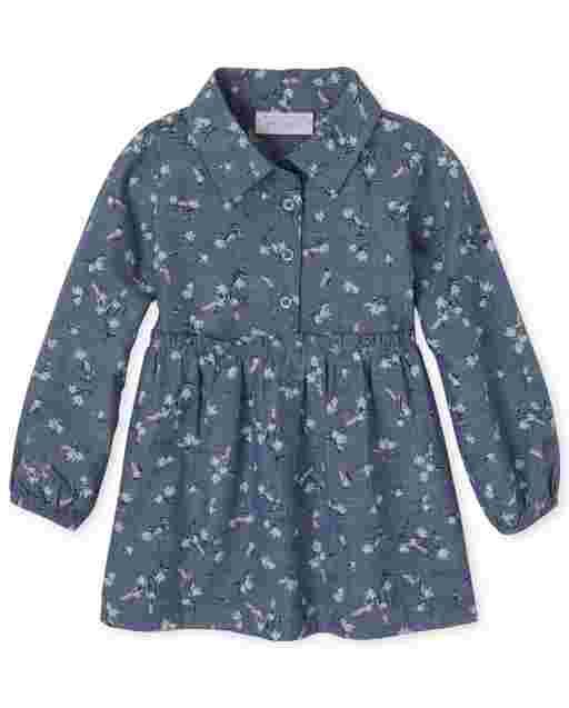 Vestido camisero de cambray con estampado floral de manga larga para bebés y niñas pequeñas