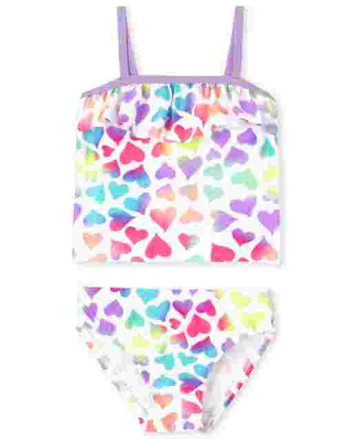 Baby And Toddler Girls Sleeveless Heart Print Tankini Swimsuit