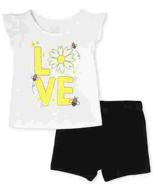 Toddler Girls Short Ruffle Sleeve 'Love' Daisy Tank Top And Knit Shorts 2-Piece Set