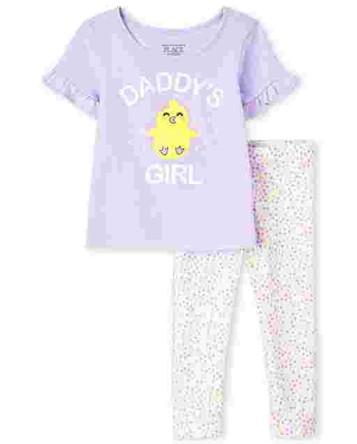 Toddler Girls Short Ruffle Sleeves 'Chicest Little Chick' Top And Print Knit Leggings Outfit Set