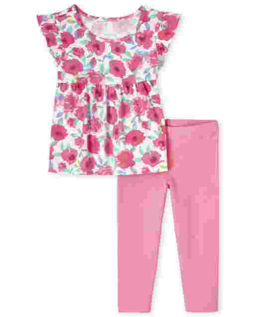 Toddler Girls Short Sleeve Floral Ruffle Top And Knit Leggings 2-Piece Set