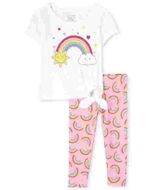 Toddler Girls Short Sleeve Rainbow Graphic Tie Front Top And Rainbow Print Knit Leggings 2-Piece Set
