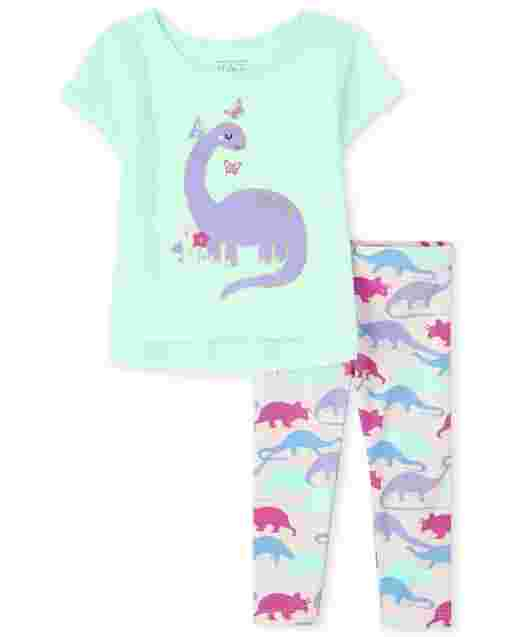Toddler Girls Short Sleeve Dino Graphic Top And Print Knit Leggings 2-Piece Set