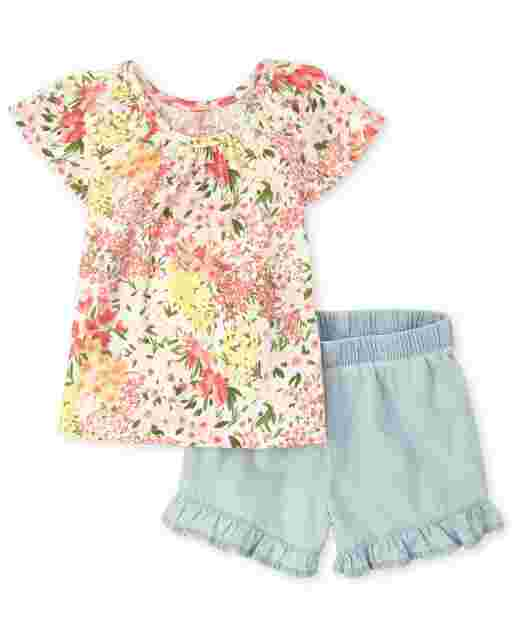 Toddler Girls Short Sleeve Floral Print Top And Chambray Ruffle Shorts 2-Piece Set