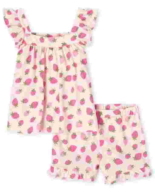 Toddler Girls Sleeveless Strawberry Print Top And Knit Ruffle Shorts 2-Piece Set