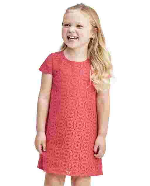 Vestido recto de encaje de margaritas de manga corta de Pascua para niñas pequeñas