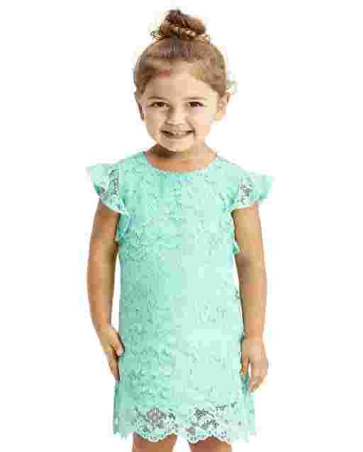 Vestido recto de encaje con manga corta de Pascua para niñas pequeñas