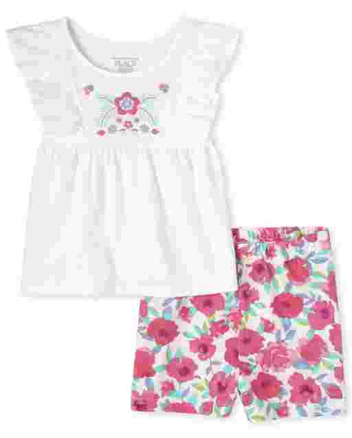 Toddler Girls Short Ruffle Sleeve Floral Embroidered Top And Floral Print Knit Shorts 2-Piece Set