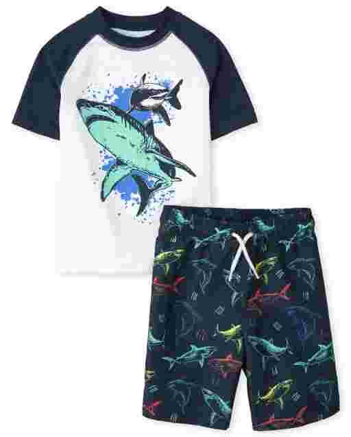 Boys Short Raglan Sleeve Shark Graphic Rashguard And Shark Print Swim Set